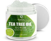 Antifungal Tea Tree Body & Foot Scrub - 350ml 100% Natural Antibacterial Exfoliator - Best Fungal Treatment Prevents Acne Dandruff Calluses Athlete's Foot Jock Itch - Premium Nature