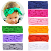 Itaar Baby Girl's Mix Colour Elastic Rabbit Ear Headwrap Bow Hairband DIY Headband 9Pcs