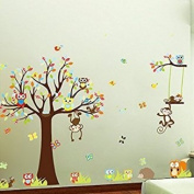 Koedu Cute Animal Wall Sticker DIY Removable Art Vinyl Quote Wall Sticker Decal Mural Home Room Decoration Kid's Room Decoration