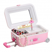 CYNDIE Draw-Bar Suitcase Music Box Girl's Musical Jewellery Storage Box With Spinning Dancing Little Cartoon Girl Birthday Present Random Colour