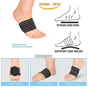 8PCS OF Orthotic Foot Support Cushion BY PEDIMEND - Reduce Inflammation - Plantar Fasciitis Brace Compression Sleeve - Reduces Cramps & Stiffness - For Men & Women - Foot Care