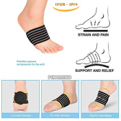2PCS OF Extra Thick Cushioned Compression Arch Support BY PEDIMEND - More Padded Comfort for Flat and Achy Feet - Insert Under Socks & Shoes - Pain Relief for High Arches & Flatfeet – For Fallen Arches / Plantar fasciitis / Flatfeet - For Men & Women – ..