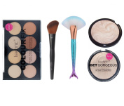 Technic Colour Fix 8 Colours Pressed Powder Contour Palette + Technic Get Gorgeous Pressed Compact Highlighter Powder + LyDia® Angled Highlighter/Face Contour/Blush/Powder Brush F-09 + LyDia® Large FishTail Green Mermaid Unicorn Fan Cheek/Blending/Cont ..