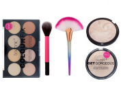 Technic Colour Fix 8 Colours Pressed Powder Contour Palette + Technic Get Gorgeous Pressed Compact Highlighter Powder + LyDia® Pink Flawless Fluffy Makeup Brush for Bronzer, Powder, Blusher, Foundation, Blending, Contour, etc + LyDia® Large Shimmer Mer ..