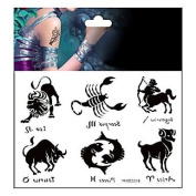 MZP Set of 6 Pcs Temporary Tattoos Chest Body Animal Series 3D Rose Waterproof Tattoos Stickers Non Toxic Glitter Large Fake Tattoo Halloween Gift 22*15cm