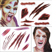 COKOHAPPY 2 Large Sheets Halloween Temporary Tattoo , Wound Scar Bleeding , Costume Party and Zombies Cosplay , Set of 1