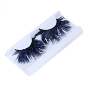 False Eyelashes,Clode® 1 Pair Fancy Makeup Handmade Messy Cross Dot Print Long Feather False Eyelashes for Christmas Cosplay Dance Party Halloween Costume