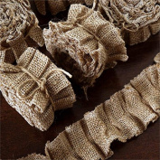 Tableclothsfactory 25 YARD Ruffle Lace Trim With Burlap Fabric For Dress Craft Sewing Trimming - NATURAL