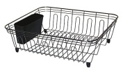 Kitchen Sink Dish Drainer Large Dish Rack Cutlery Drainer with Utensil Storage Basket, Black