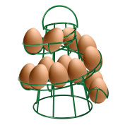 CrazyGadget® Dark Green Coloured Helter Skelter Egg Basket Wire Spiral Egg Run Storage Holder Stand Display Retro Vintage Style Egg Display with Carry Handle Holds up to 12 eggs. Wide selection with 11 colours to choose from.