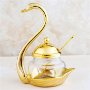 Glass Liner Condiment Pots with Lids and Spoons, Seasoning Container Canister Storage Organiser Jar Bowl Cup with Golden Stainless Steel Holders for Coffee Berry Jam Syrup Cream Spice Salt Sugar Bowl