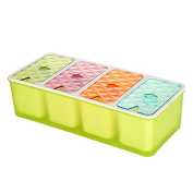 Four Cell Plastic Seasoning Box With A Spoon, 26 * 11.5 * 7Cm