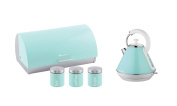 SQ Professional Matching Kitchen Set Bread Bin With 3 Canisters and 1.8L Kettle Seafoam Mint Green