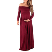 CHIC-CHIC Women's 3/4 Sleeve Maternity Pregnancy Long Maxi Dress Nursing Dress