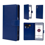 Case for Sony Xperia XZ1 Compact by 32nd, Premium Faux Leather Flip Wallet Book Style Opening Cover With Card Slots - Deep Blue