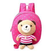Treasure-House Baby Anti-lost Toddler Safety Harnesses Cartoon Pink bear Baby Leashes Bag Backpack