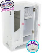 Matty's Toy Stop 46cm Doll Furniture White Wooden Armoire Closet with 10 Hangers - Fits American Girl Dolls