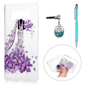 Note 8 Case, KASOS Colourful Painting Shiny Silver Purple Wedding Dress Bling Glitter Powder Soft TPU Clear Case Ultra-Thin Slim Fit Lightweight Bumper Cover Case & Dust Plug & Stylus - Dress