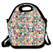 Tydo Lunch Bags Colourful Triangle Pattern Travelling Bags Picnic Bags Bento Bags For Teen Adult Kids Children