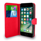 iPhone 7 Case Red Premium Leather Flip Wallet Case Cover Pouch For iPhone 7 With Screen Protector and Stylus Pen
