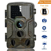 HD Trail Camera BestoU 16MP 1080P Wildlife Camera Infrared Game & Hunting Camera with 46 Pcs no glow IR LEDs Night Version up to 20M/20m Scouting Camera with IP66 Spray Waterproof 130° Wide Angle Lens 120° Detection