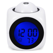 Smart Alarm Clock, Digital Projection Clock with Soft LED Backlight, Date and Indoor Temperature Display,Children Music Repeating Snooze Bedside clock - Black