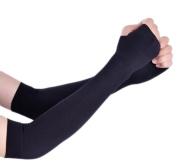 Cdet 1 Pair Arm Sleeves Fingerless Gloves UV Sun Protection Gloves Shooter Sleeve for Outdoor Sport Tattoo Cover Black