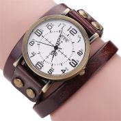 AMA(TM) Men Women Vintage Cow Leather Wristwatch Dress Quartz Bracelet Watch Gifts