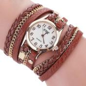 . AMA(TM) Women Vintage Leather Bracelet Watches Quartz Wrap Around Wristwatch Gifts