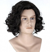 Diy-Wig Men's Curly Fluffy Cool Nautral Looking Party Halloween Cosplay Costume Wigs Short Black
