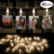 Picture Display Lights, Furado LED Photo Clip String Lights, LED Photo Lights, LED String Lights Warm White, 40 Photo Clips 4.2M/13Ft Battery Powered LED Picture Lights for Decoration Hanging Photo, Notes, Artwork