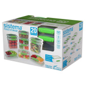 Sistema 65601 Food Storage Containers, 20-Piece Green, Clear