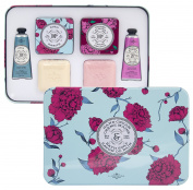 La Chatelaine Luxury Shea and Cherry Almond Hand Cream & Soap Large Tin Gift Set, 2 Triple Milled French Soaps , 2 x 100ml (100g), 2 Shea Butter Hand Lotions 2 x 30ml, 2 Elegant Soap Travel Tins