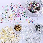 1 Box Colourful Gold Sliver Christmas Series Shiny Nail Sequins Glitter Tips Manicure DIY Nail Art Decorations Set