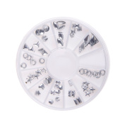 Nizi Jewellery Nail Art Decorations Metal Rhinestones Sticker For Nails Flat Back Pack of 1 Set Silver Colour