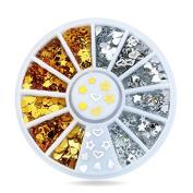 360pcs/set Gold Silver Metal Nail Art Sticker Wheel Hearts Teardrop Design Tiny DIY Nail Decorations gift set