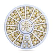 Beige Colour Metal Edge Glitter Pearls Nail Beads Studs DIY Beauty Nail Art Decorations Wheel gift set