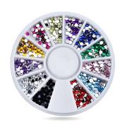 Nail Rhinestones Decorations,Mix 12colors 1.5mm Glitter Acrylic Flatback Nail Tip Gems Wheel,3d Manicure Nail Art Supplies gift set