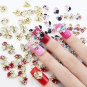 Perfect Summer 30pcs Sets 3D Nail Art Cell Phones Colourful Crystal Rhinestones Bows Diamond Glitters DIY Cute Decorations