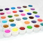 Vip Beauty Shop Pro 36 Shiny Colours Nail Art Uv Gel Builder Powder Acrylic Tips Glue Set Kit DIY Decorations