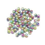 Nizi Jewellery RainBow Colour No Hole Round Pearls 3-6mm Imitation Pearls Craft DIY Wedding Dresses Decorations Nail Art Gold Rainbow 5mm 5000pcs