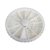 BMC Multiple Size Half Cut White Round Faux Pearl 3D Nail Art Stud Variety Wheel