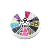 PUEEN 3D Nail Art Wheel of 3mm Round Hemisphere Pearls in 12 Different Colours Gold & Silver Studs Beads