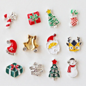 Winstonia Christmas Winter Holiday Assorted Pieces 3D Charms Nail Art Decoration Bling Rhinestone Bead Decor - Santa, Reindeer, Snowflake, Gift, Christmas Tree, Candy Cane etc