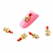 So Beauty 10pcs Microphone Alloy 3D Rhinestone Nail Art Tips Slice Decoration