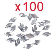 So Beauty 100pcs Grey Rhombus Flat Back Rhinestones Flatback acrylic Gems for Nail Art