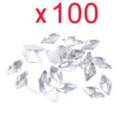 So Beauty 100pcs Transparent Clear Rhombus Flat Back Rhinestones Flatback acrylic Gems for Nail Art