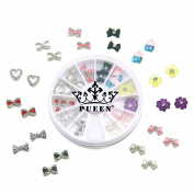 PUEEN 3D Nail Charms Wheel of 24pcs Resin & Alloy Rhinestones Nail Art Decoration Bow Flower DIY for Nails & Cell Phones-BH000349