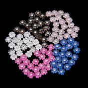 100 Mix Colours Acrylic Nail Art Tips 3D Flower Rhinestones Decoration