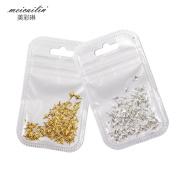 QIMYAR 1,000pcs/lot Japanese Mini Scrub Nail Studs Decoration Metal Star Nail Art Design Gold & Silver